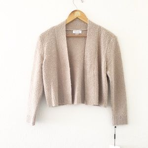 NWT Calvin Klein Tan Boucle Shrug Sweater